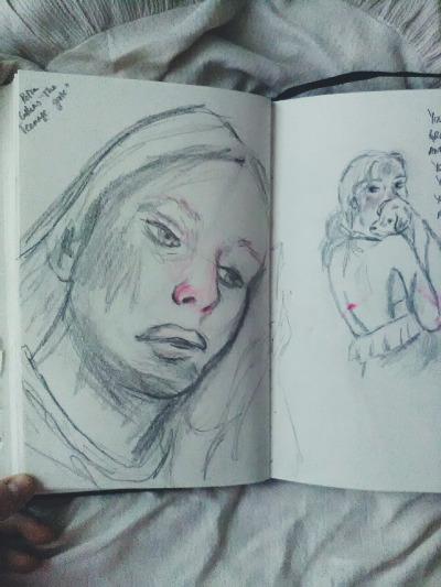 art journal portrait sketch