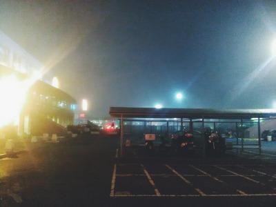 parking lot foggy night