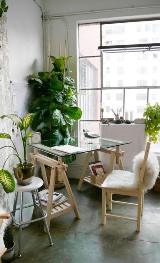 pinterest work space greens plants