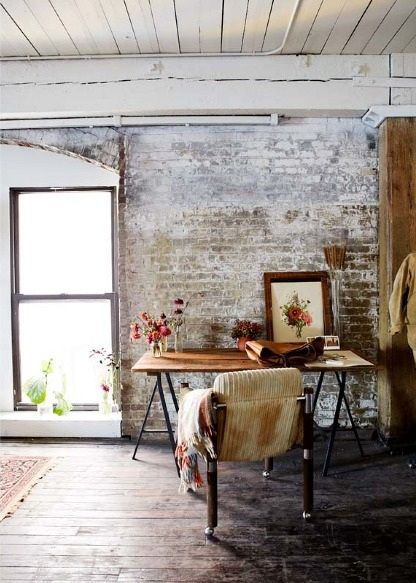 pinterest work space brick walls