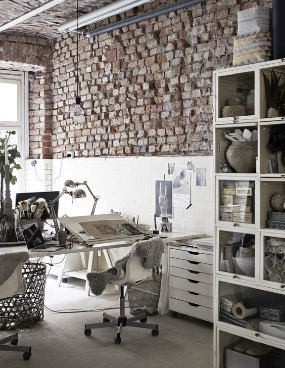 pinterest work space brick walls sweddish design