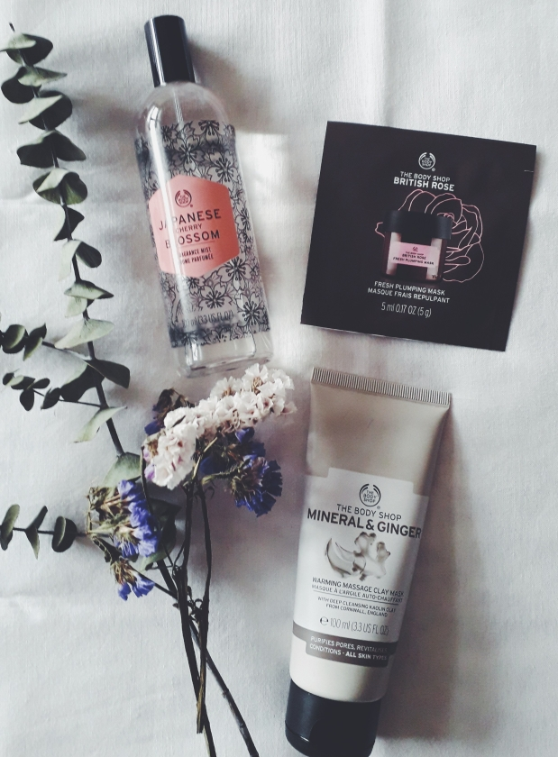the body shop beauty haul skincare masks japanese cherry blossom mist